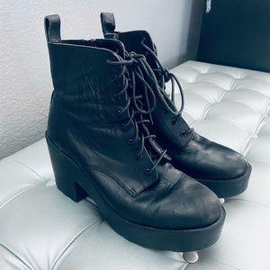 Tony Bianco Leather Block Heeled Boots w Zippers